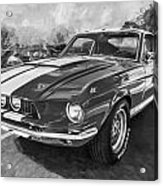 1967 Ford Shelby Mustang Gt500 Painted Bw Acrylic Print