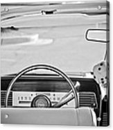 1967 Lincoln Continental Steering Wheel -014bw Acrylic Print