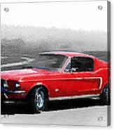 1968 Ford Mustang Watercolor Acrylic Print
