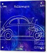 1968 Vw Patent Drawing Blue Acrylic Print