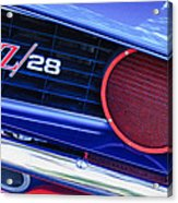 1969 Chevrolet Camaro Z28 Grille Emblem Acrylic Print