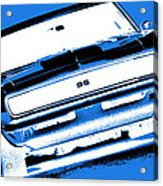 1969 Chevy Camaro Ss - Blue Negative Acrylic Print