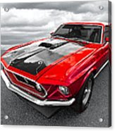 1969 Red 428 Mach 1 Cobra Jet Mustang Acrylic Print