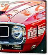 1969 Shelby Cobra Gt500 Front End - Grille Emblem Acrylic Print by Jill Reger