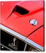 1969 Shelby Gt500 Convertible 428 Cobra Jet Hood - Grille Emblem Acrylic Print