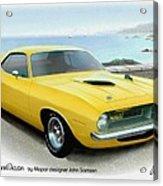 1970 Barracuda Classic Cuda Plymouth Muscle Car Sketch Rendering Acrylic Print