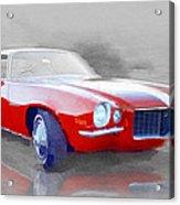 1970 Chevy Camaro Watercolor Acrylic Print