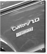 1970 Chevy Custom 350 Truck Bw Acrylic Print