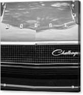 1970 Dodge Challenger Rt Convertible Grille Emblem -0545bw Acrylic Print