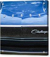 1970 Dodge Challenger Rt Convertible Grille Emblem -0545c Acrylic Print