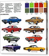1970 Dodge Coronet Models And Colors Acrylic Print