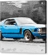 1970 Ford Mustang Boss Blue Watercolor Acrylic Print