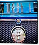1970 Ford Mustang Gt Mach 1 Emblem Acrylic Print