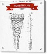 1970 Lacrosse Stick Patent Drawing - Retro Red Acrylic Print