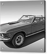 1970 Mach 1 Mustang 351 Cleveland In Black And White Acrylic Print