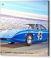 1970 Superbird Petty Nascar Racecar Muscle Car Sketch Rendering Acrylic Print