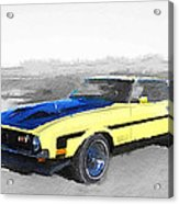 1971 Ford Mustang Boss Watercolor Acrylic Print