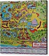 1971 Original Map Of The Magic Kingdom Acrylic Print