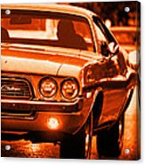 1972 Dodge Challenger In Orange Acrylic Print