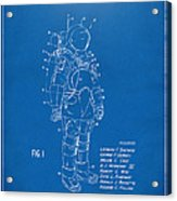 1973 Space Suit Patent Inventors Artwork - Blueprint Acrylic Print by Nikki Marie Smith