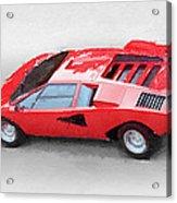 1974 Lamborghini Countach Watercolor Acrylic Print