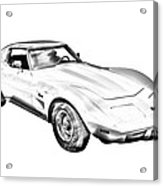 1975 corvette stingray sports car illustration acrylic print by 1982 Chevy Impala 1975 corvette stingray sports car illustration acrylic print