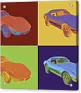 1975 Corvette Stingray Sportscar Pop Art Acrylic Print