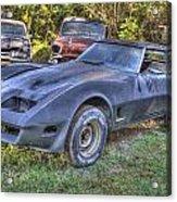 1977 Corvette Black Acrylic Print