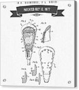1977 Lacross Stick Patent Drawing - Retro Gray Acrylic Print