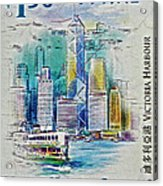 1999 Victoria Harbour Hong Kong Stamp Acrylic Print