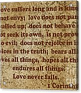 1st Corinthians 13 Verses 4-7 Acrylic Print