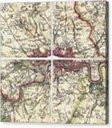 18th Century Map Of London Acrylic Print