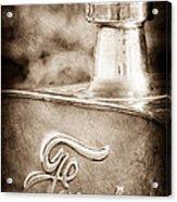 1911 Ford Model T Torpedo 4 Cylinder 25 Hp Hood Ornament - Emblem Acrylic Print by Jill Reger