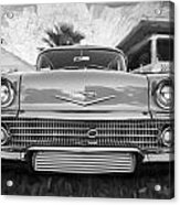 1958 Chevrolet Bel Air Impala Painted Bw  Acrylic Print