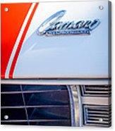 1969 Chevrolet Camaro Rs-ss Indy Pace Car Replica Hood Emblem Acrylic Print