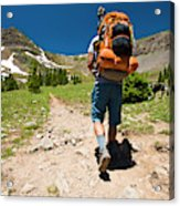 A Backpacker Hiking Acrylic Print
