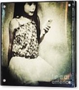 A Girl With Iphone Acrylic Print by Elena Nosyreva