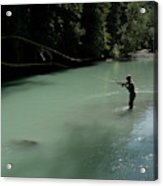 A Man Casts In A River Wearing Waders Acrylic Print