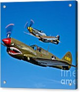 A P-40e Warhawk And A P-51d Mustang Acrylic Print