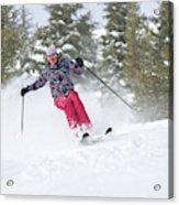 A Skier Descends A Snowy Slope Acrylic Print