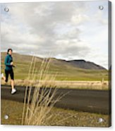A Woman Out For A Jog In The Country Acrylic Print