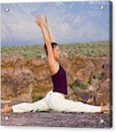 A Woman Practicing Yoga On A Dry Lake Acrylic Print