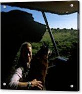 A Woman Sits In Her Safari Jeep Acrylic Print
