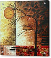 Abstract Gold Textured Landscape Painting By Madart Acrylic Print