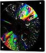 Abstract Rainbow Droplets On Cd Acrylic Print
