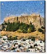 Acropolis And Village Of Lindos Acrylic Print by George Atsametakis