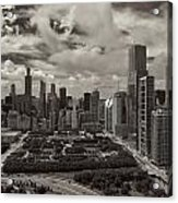 Aerial Chicago At Millennium Park Acrylic Print
