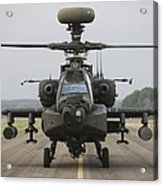 Ah-64 Apache Helicopter On The Runway Acrylic Print