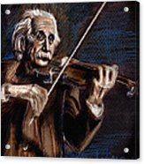 Albert Einstein And Violin Acrylic Print