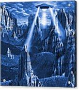 Alien Planet In Blue Acrylic Print by Mike McGlothlen